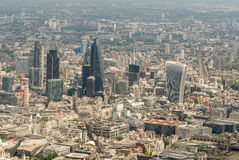 Opinión del helicóptero de la ciudad de Londres Horizonte moderno aéreo Fotografía de archivo libre de regalías