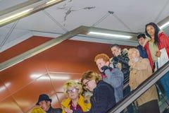 Opinión del interior del metro de Madrid Fotografía de archivo