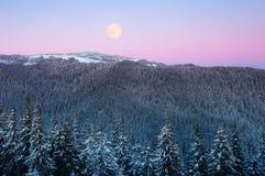 Opinión del invierno con una Luna Llena en las montañas fotografía de archivo libre de regalías