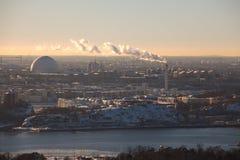 Opinión del invierno de Estocolmo Imagenes de archivo