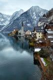 Opinión del invierno de Hallstatt (Austria) Fotos de archivo libres de regalías
