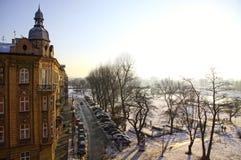 Opinión del invierno de la ciudad de Kraków Imagen de archivo libre de regalías