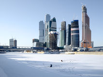 Opinión del invierno de la ciudad de Moscú Fotos de archivo libres de regalías
