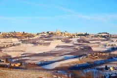 Opinión del invierno de Langhe Imagen de archivo libre de regalías