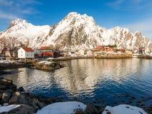 Opinión del invierno de Svolvaer, islas de Lofoten, Noruega Fotos de archivo libres de regalías