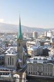 Opinión del invierno de Zurich Fotografía de archivo