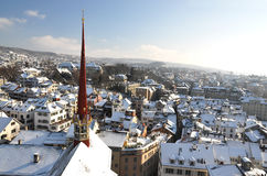 Opinión del invierno de Zurich Foto de archivo libre de regalías