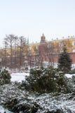 Opinión del invierno del jardín de Alexander y las paredes y las torres de la Moscú el Kremlin Fotos de archivo