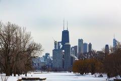 Opinión del invierno del horizonte de Chicago más allá de Lincoln Park Lagoon fotografía de archivo libre de regalías