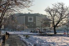 Opinión del invierno del palacio nacional de la cultura en Sofía, Bulgaria Fotos de archivo