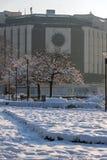 Opinión del invierno del palacio nacional de la cultura en Sofía, Bulgaria Foto de archivo