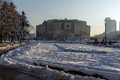 Opinión del invierno del palacio nacional de la cultura en Sofía, Bulgaria Imágenes de archivo libres de regalías