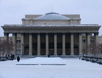 Opinión del invierno sobre teatro de la ópera y de ballet de Novosibirsk imagenes de archivo