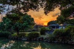 Opinión del jardín sobre una puesta del sol del invierno fotografía de archivo libre de regalías
