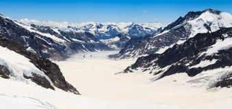Opinión del Jungfraujoch, Suiza del glaciar de Aletsch Imagen de archivo