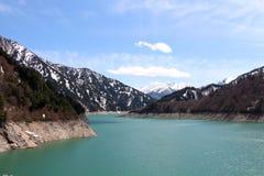 Opinión del lago de la presa de Kurobe Fotografía de archivo