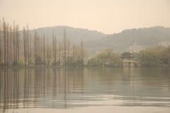 Opinión del lago en un día brumoso Imágenes de archivo libres de regalías