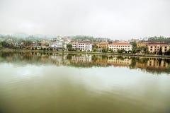 Opinión del lago Sapa, Vietnam Fotografía de archivo