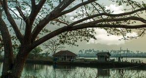 Opinión del lago village en Kerala fotos de archivo