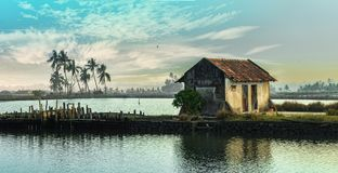 Opinión del lago village en Kerala imagen de archivo libre de regalías