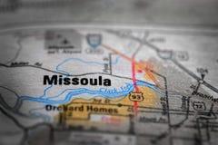 Opinión del mapa para el viaje a las ubicaciones y a los destinos Fotos de archivo