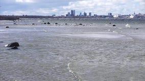 Opinión del mar Báltico de Tallinn almacen de metraje de vídeo