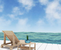 Opinión del mar con el salón de la playa para las vacaciones en la representación 3D Imágenes de archivo libres de regalías