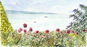 Opinión del mar con las flores stock de ilustración