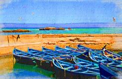 Opinión del mar con los barcos azules ilustración del vector