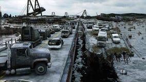 Opinión del mar de la apocalipsis Puente destruido Concepto del Armageddon Animación realista estupenda 4K ilustración del vector