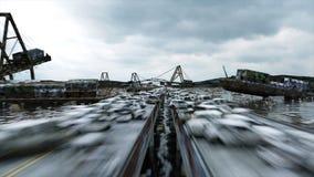 Opinión del mar de la apocalipsis Puente destruido Concepto del Armageddon Animación realista estupenda 4K stock de ilustración