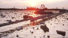 Opinión del mar de la apocalipsis Puente destruido Concepto del Armageddon Animación realista estupenda 4K