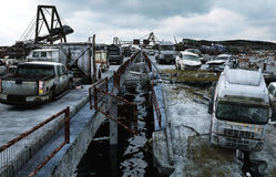 Opinión del mar de la apocalipsis Puente destruido Concepto del Armageddon representación 3d stock de ilustración