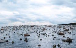 Opinión del mar de la apocalipsis Puente destruido Concepto del Armageddon representación 3d ilustración del vector