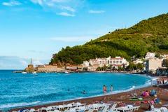 Opinión del mar de la playa de Petrovac Foto de archivo libre de regalías