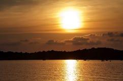 opinión del mar de la puesta del sol Imágenes de archivo libres de regalías