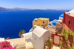 Opinión del mar de Santorini Foto de archivo libre de regalías