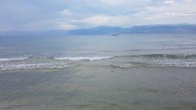 Opinión del mar sobre la isla de Corfú Fotografía de archivo libre de regalías