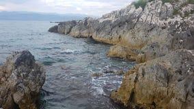 Opinión del mar sobre la isla de Corfú Imágenes de archivo libres de regalías