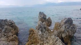 Opinión del mar sobre la isla de Corfú Imagen de archivo