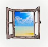Opinión del mar a través de una ventana abierta ilustración del vector
