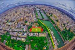 Opinión del ojo de pájaro de la ciudad de París, Francia Foto de archivo libre de regalías