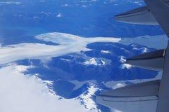 Opinión del ojo de pájaro del glaciar debajo del ala plana Imágenes de archivo libres de regalías