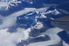 Opinión del ojo de pájaro del glaciar debajo del ala plana Fotos de archivo libres de regalías