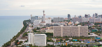 Opinión del ojo de pájaro del paisaje urbano de Pattaya Imagen de archivo