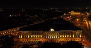 Opinión del ojo de pájaro de noche del St Petersburg Rusia almacen de metraje de vídeo