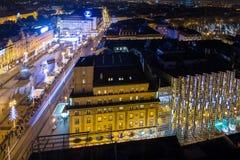 Opinión del ojo del ` s del pájaro de la noche Zagreb Imagen de archivo libre de regalías
