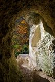 Opinión del otoño de Diana Grotto de Ermitage Arlesheim Fotos de archivo libres de regalías