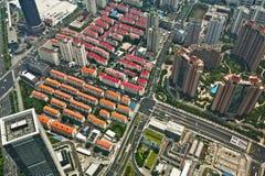 Opinión del pájaro de la ciudad de Shangai fotos de archivo