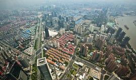 Opinión del pájaro de la ciudad de Shangai foto de archivo